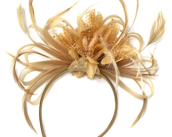 Beige Camel Fascinator on Headband Alice Band UK Wedding Ascot Races Loop Hoops Derby