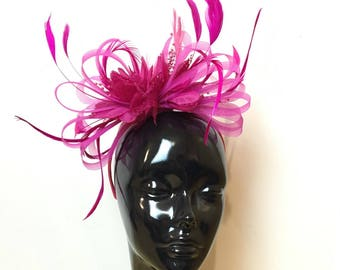 Caprilite Fuchsia Hot Pink Wedding Fascinator Headband  Alice Band Ascot Races Loop Net