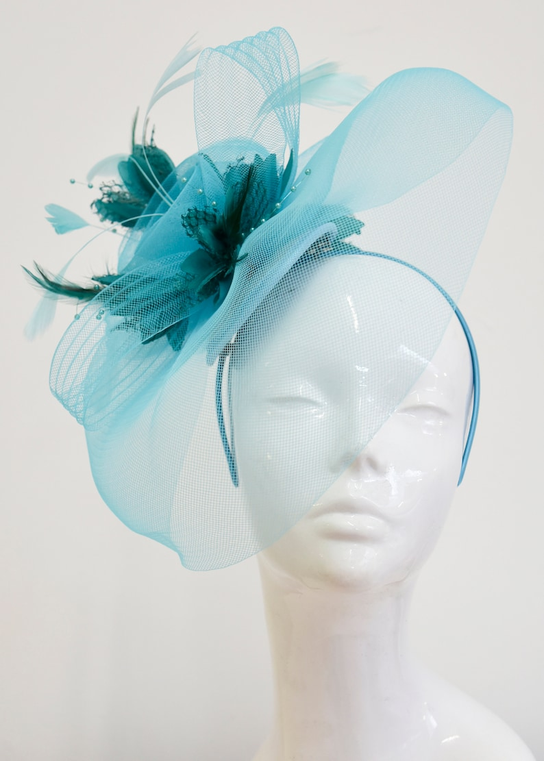 87dc1f728bd Big Light Turquoise Blue and Teal Fascinator Hat Veil Net Hair