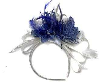 White & Royal Blue Fascinator on Headband