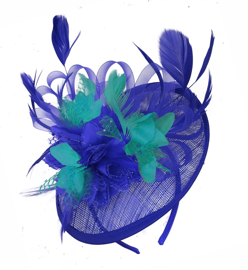 79536ea3009cd Caprilite Blue and Turquoise Sinamay Disc Saucer Fascinator