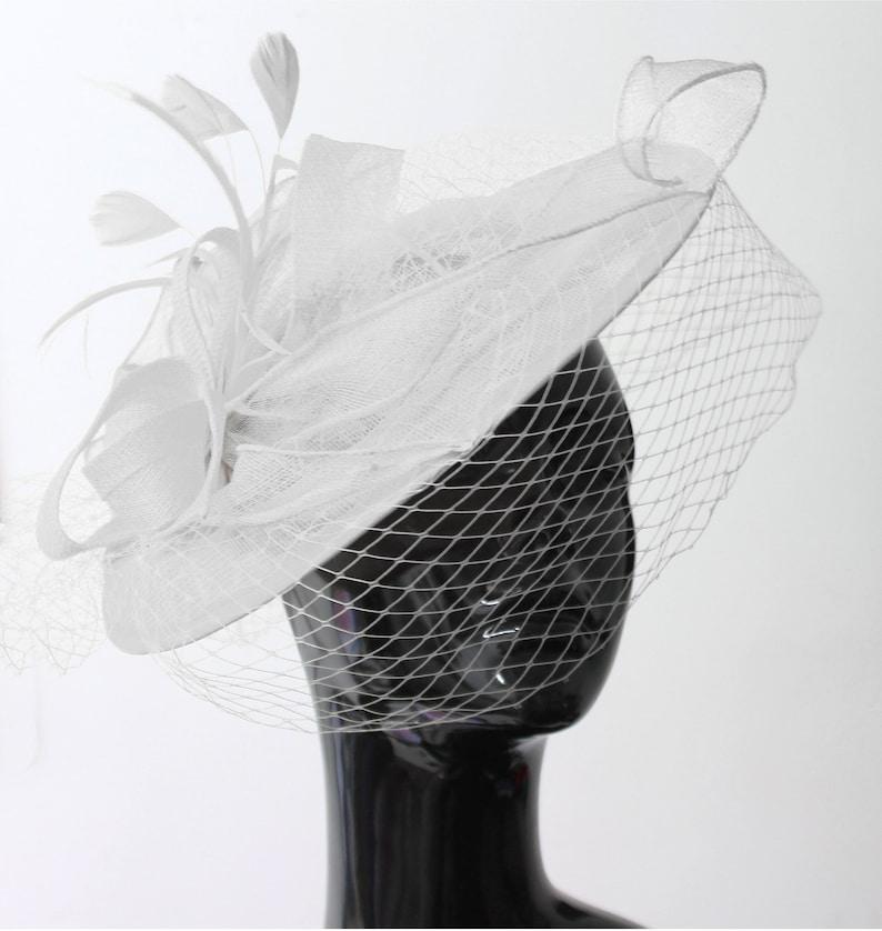 613404cbdfd18 Caprilite Big Saucer Sinamay White Birdcage Veil Fascinator On | Etsy