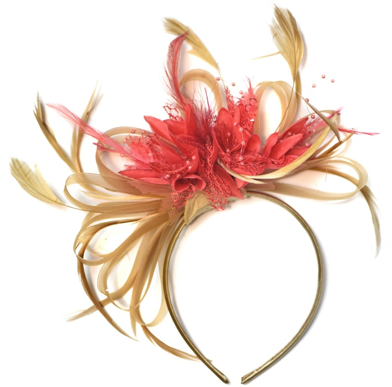 251b6192a0d58 Caprilite Champagne Gold Beige Camel and Coral Pink Fascinator