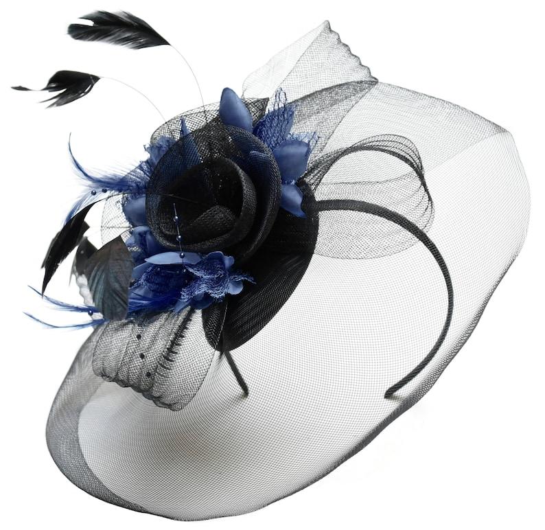 69f81f6d87675 Caprilite Big Black and Navy Fascinator Hat Veil Net Hair Clip