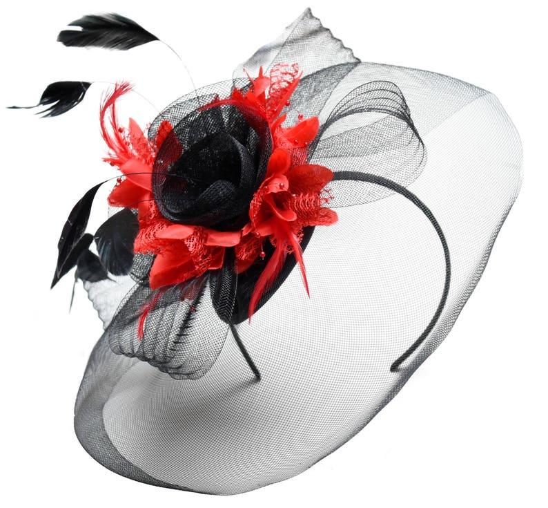 5f6ba84d63f31 Caprilite Big Black and Red Fascinator Hat Veil Net Hair Clip