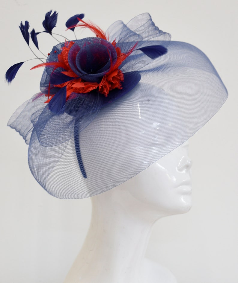 b2de8bca7a100 Caprilite Big Navy and Red Fascinator Hat Veil Net Hair Clip Ascot Derby  Races Wedding Headband Feather Flower