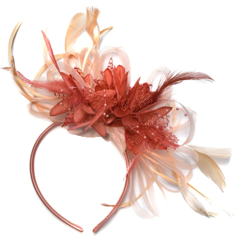 b9538dcaa6945 Caprilite Nude Salmon Pink and Coral Pink Fascinator on
