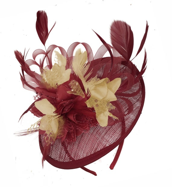 Caprilite Burgundy and Beige Sinamay Disc Saucer Fascinator  d7ddc9fd6d31