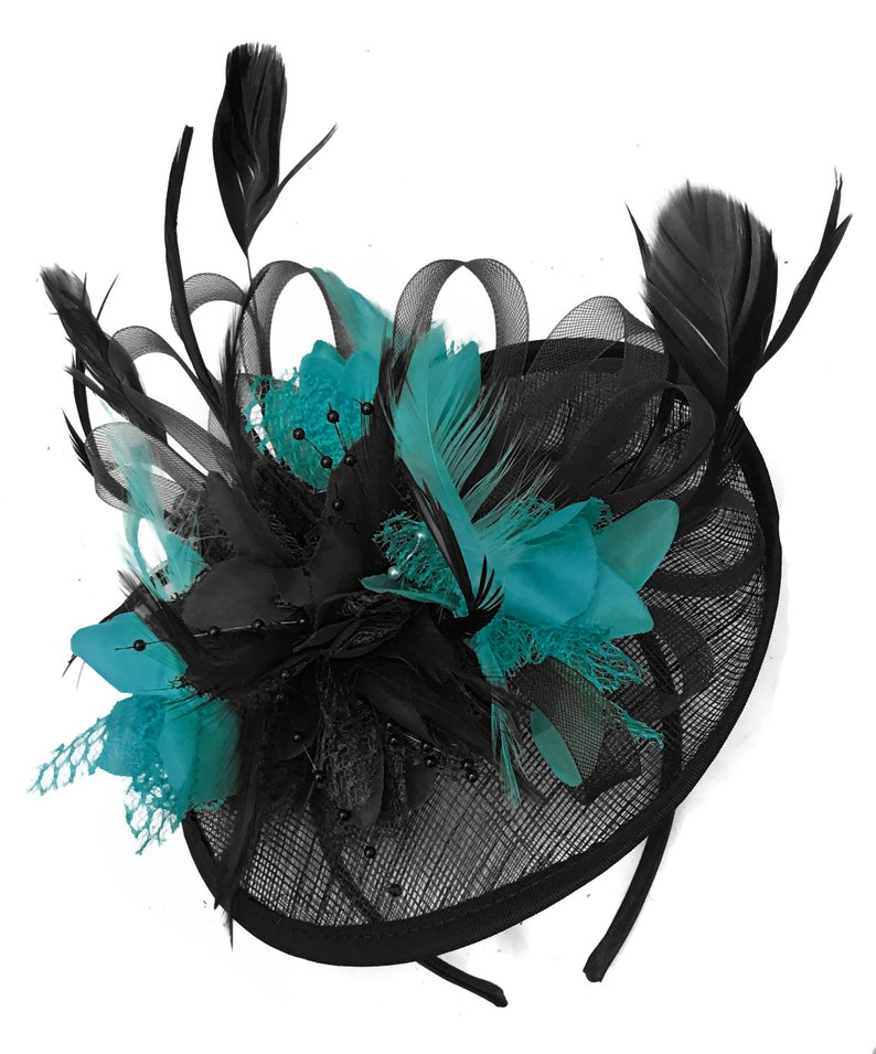 6abfe1cee091c Caprilite Black and Teal Turquoise Sinamay Disc Saucer
