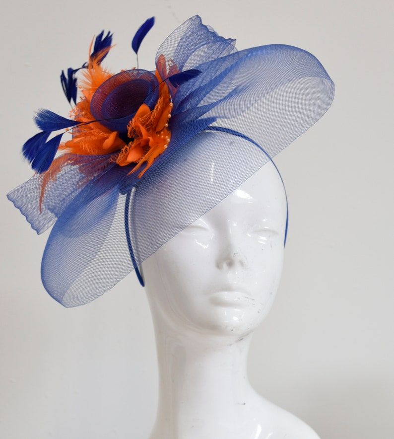 c54732ee5869e Caprilite Big Royal Blue and Orange Fascinator Hat Veil Net Hair Clip Ascot  Derby Races Wedding Headband Feather Flower