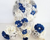 Paper Flower wedding bridal bouquet alternative vintage Dr who harry potter Brooch waterfall cascade teardrop blue book page silver