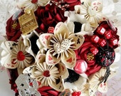 Paper Flower Wedding Bouquet Las Vegas casino playing card theme EXAMPLE ONLY see description