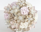 Paper Flower Wedding Bridal bouquet Alternative Pink Ivory Cream EXAMPLE ONLY see description