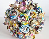 Alternative bouquet wedding flowers paper origami rose kusudama alice in wonderland mad hatter tea party disney book theme bridal pin brooch