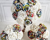 Paper Flower Wedding Origami Rose Bouquet Book Harry Potter Marvel Comic book Superhero Bouquet theme wedding alternative