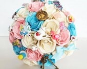 Paper Flower Wedding Origami Rose Bouquet Alice in Wonderland mad hatters tea party pink blue theme alternative fun