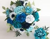 Paper flowers wedding bride bouquet - Blue theme EXAMPLE ONLY see description