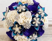 Paper Flower Bouquet origami kusudama roses peacock theme purple teal green blue feather vintage brooch ivory pearl crystal jute theme
