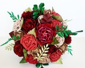 Paper flower wedding bridal bouquet alternative christmas winter new years wedding theme red gold green
