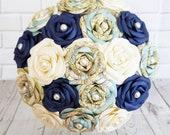 Alternative bouquet wedding flowers paper origami vintage theme sea navy nautical travel destination map something blue
