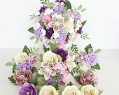 Paper Flowers wedding bride bouquet - Purple lilac ivory white blossom pink brooch pearl and crystal EXAMPLE ONLY see description