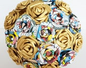 Paper flower bouquet superhero marvel DC comic theme wedding bride gold purple red
