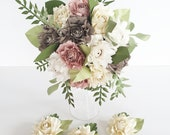 Paper Flowers wedding bride bouquet - Peony Rose Dusky Pink Neutral EXAMPLE ONLY see description
