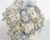 Paper Flowers wedding bridal bouquet alternative book sheet music harry potter pale light blue silver crystal brooch any colour hand made