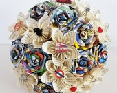 Alternative bouquet wedding flowers paper origami rose kusudama london marvel comic book page harry potter theme bridal pin brooch