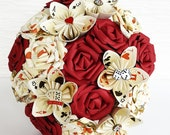 Paper Flowers wedding bridal bouquet Las Vegas wedding dice palying cards red pin Brooch theme book pages UK