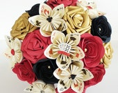 Paper Flower bouquet Las Vegas style theme brooches USA elopement wedding bride rose playing deck of cards red black gold aces