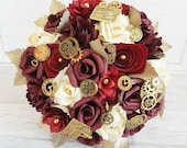 Paper Flower Wedding Origami Rose Bouquet burgundy bordeaux red plum cherry steam punk cog timepiece mechanical alternative bouquet gold