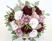 Paper flower wedding bridal bouquet Pink and Bordeaux leafy foliage EXAMPLE ONLY see description