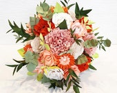 Paper Flowers wedding bridal bouquet alternative orange peach any colour hand made