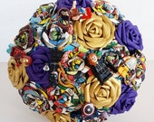 Alternative bouquet wedding flowers paper origami vintage theme comic book marvel lego figure buttonhole bride superhero purple gold blue