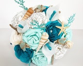 Paper Flower Wedding Bouquet Bridal UK seaside beach theme