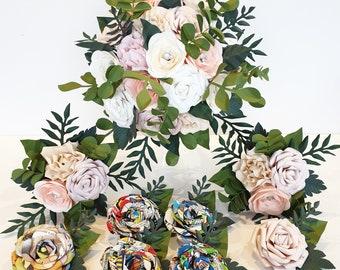 Paper Flowers wedding bridal bouquet alternative bridesmaid Japanese theme hand fan any colour hand made eucalyptus foliage leafy