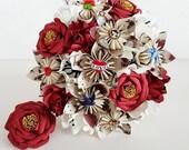Alternative bouquet wedding flowers paper origami vintage rockabilly red gold sailor jerryanchor rose swallow tattoo theme bride dress sash