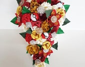 Pokemon wedding theme paper flower bouquet cascade tear drop waterfall