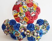 Alternative bouquet wedding flowers paper origami vintage comic book marvel superhero spiderman avengers theme red blue navy bride