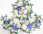 Paper flowers wedding bridal bouquet blue and white theme EXAMPLE ONLY see description