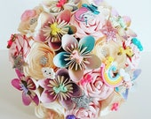 Paper Flower Wedding Origami Rose Bouquet ombre unicorn magical star glitter brooch rainbow theme wedding alternative shoes dress