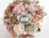 Paper flower wedding bridal bouquet Harry Potter Pink Rose Gold embellishment