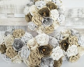 Paper Flowers wedding bridal bouquet crystal Brooch theme book pages UK gold silver harry potter or other book gatsby