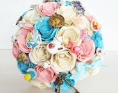 Paper Flowers Wedding bridal Bouquet Alice in Wonderland EXAMPLE ONLY see description