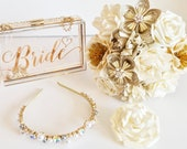UK SELLER - Whole PACKAGE Bride accessories package Gold - paper flowers wedding bouquet clutch bag buttonhole hair piece headband