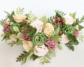 Paper Flower wedding Bridal bouquet foliage greenery romantic natural look bridesmaid flowers gift  EXAMPLE ONLY see description