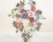 Cascade Bouquet Paper Flowers Bridal wedding Pink Blue Blush Theme EXAMPLE ONLY see description