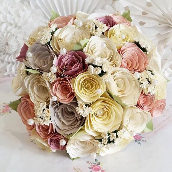 Papier Blumenstrauss Vintage Rustikal Romantischen Rosen Etsy