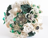 Paper flower wedding bridal bouquet Harry Potter house colour green slytherin embellishment brooch EXAMPLE ONLY see description